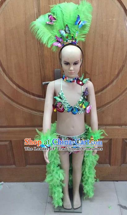 Top Grade Professional Performance Catwalks Costume Green Feather Swimsuit and Headwear, Traditional Brazilian Rio Carnival Samba Dance Bikini Clothing for Kids