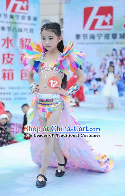 Top Grade Professional Performance Catwalks Costume Colorful Feather Swimsuit, Traditional Brazilian Rio Carnival Samba Dance Bikini Clothing for Kids
