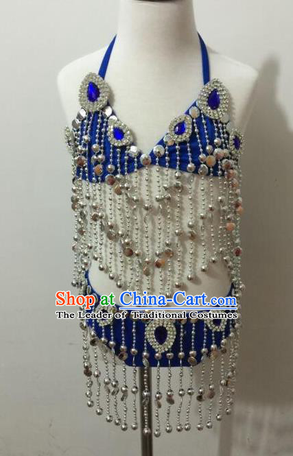 Top Grade Professional Performance Catwalks Costume Blue Swimsuit, Traditional Brazilian Rio Carnival Samba Dance Bikini Clothing for Kids