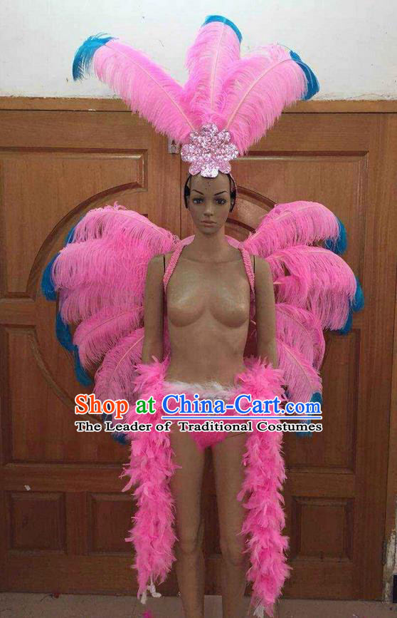 Top Grade Professional Performance Catwalks Costume Pink Feather Bikini with Wings, Traditional Brazilian Rio Carnival Samba Dance Clothing and Headpiece for Women