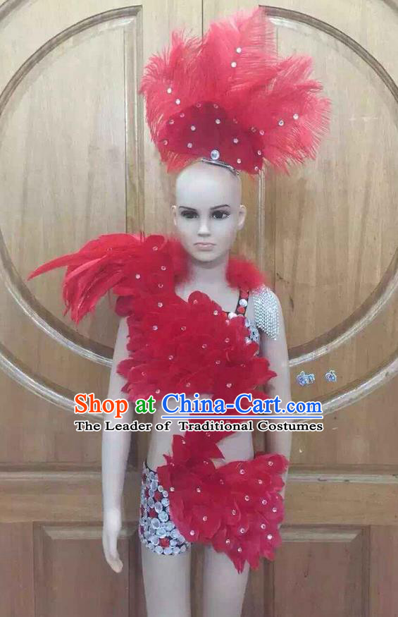 Top Grade Professional Performance Catwalks Costume Red Swimsuit and Headwear, Traditional Brazilian Rio Carnival Samba Dance Bikini Clothing for Kids