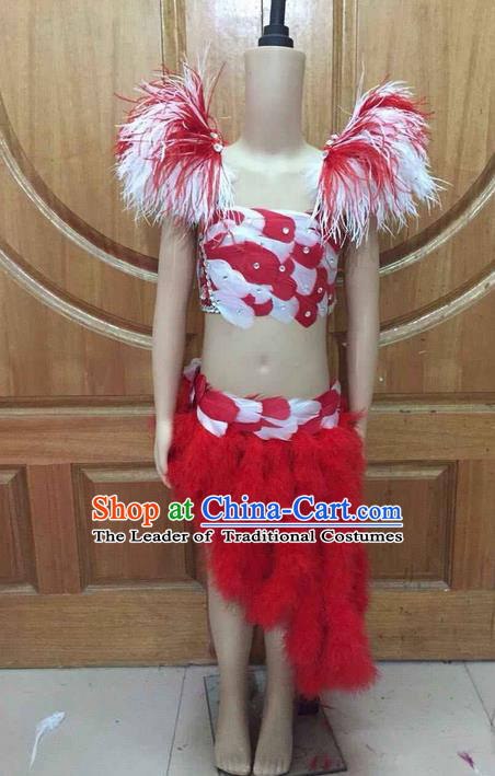 Top Grade Professional Performance Catwalks Costume Swimsuit, Traditional Brazilian Rio Carnival Samba Dance Clothing for Kids