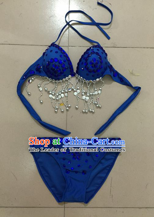 Top Grade Professional Performance Catwalks Costume Royalblue Swimsuit, Traditional Brazilian Rio Carnival Samba Belly Dance Bikini Clothing for Kids