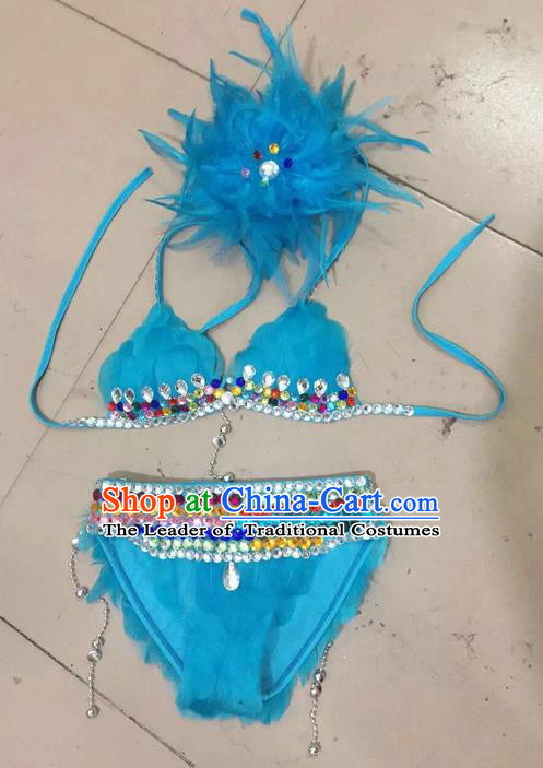 Top Grade Professional Performance Catwalks Costume Blue Swimsuit and Feather Headwear, Traditional Brazilian Rio Carnival Samba Belly Dance Bikini Clothing for Kids