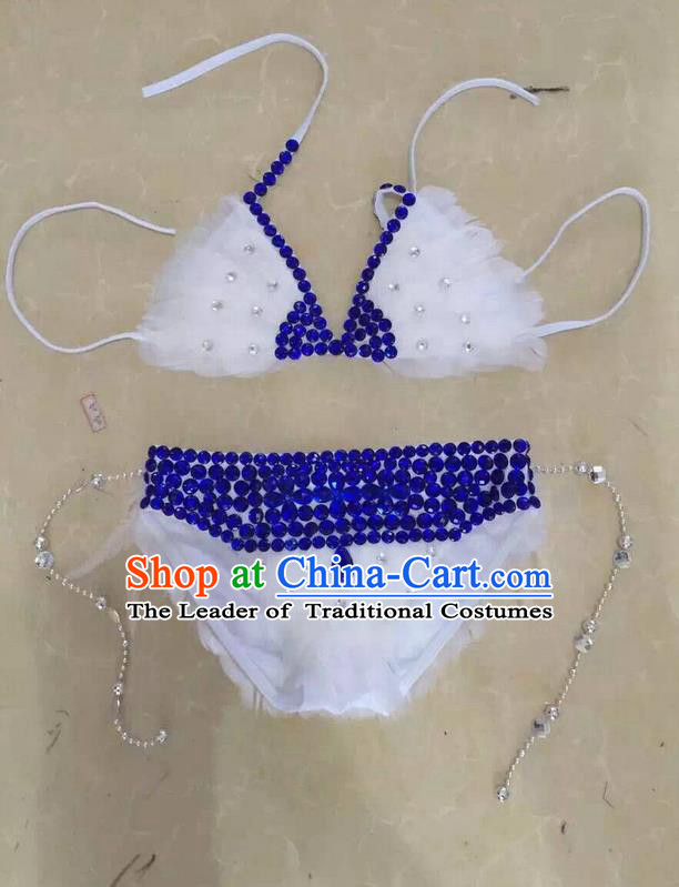 Top Grade Professional Performance Catwalks Costume White Swimsuit, Traditional Brazilian Rio Carnival Samba Belly Dance Bikini Clothing for Kids