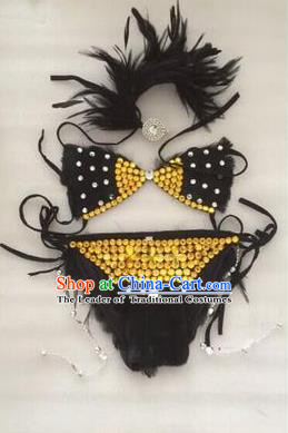 Top Grade Professional Performance Catwalks Costume Black Crystal Swimsuit, Traditional Brazilian Rio Carnival Samba Belly Dance Bikini Clothing for Kids