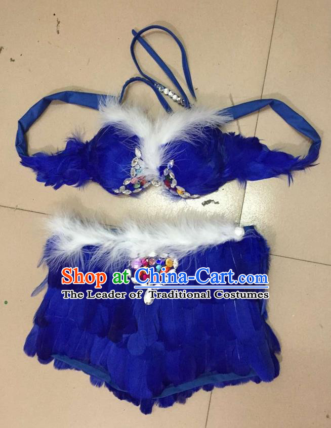 Top Grade Professional Performance Catwalks Costume Royalblue Feather Bikini, Traditional Brazilian Rio Carnival Samba Dance Modern Fancywork Swimsuit for Women