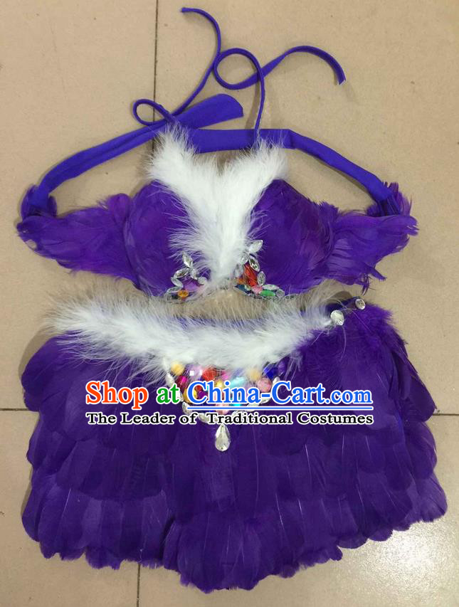 Top Grade Professional Performance Catwalks Costume Purple Feather Bikini, Traditional Brazilian Rio Carnival Samba Dance Modern Fancywork Swimsuit for Women