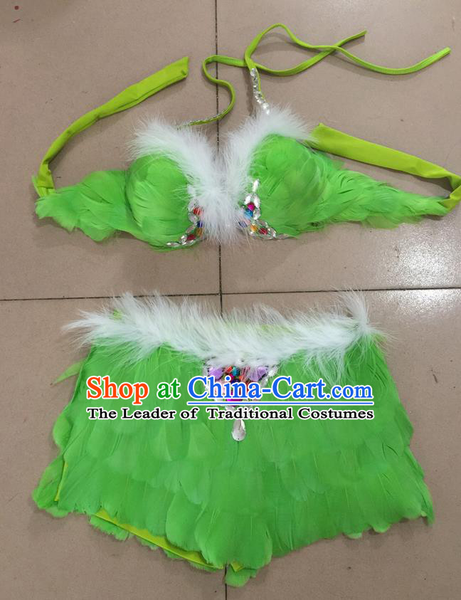 Top Grade Professional Performance Catwalks Costume Green Feather Bikini, Traditional Brazilian Rio Carnival Samba Dance Modern Fancywork Swimsuit for Women