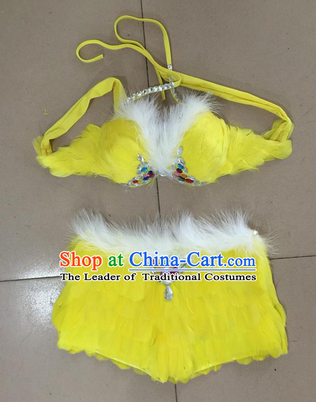Top Grade Professional Performance Catwalks Costume Yellow Feather Bikini, Traditional Brazilian Rio Carnival Samba Dance Modern Fancywork Swimsuit for Women