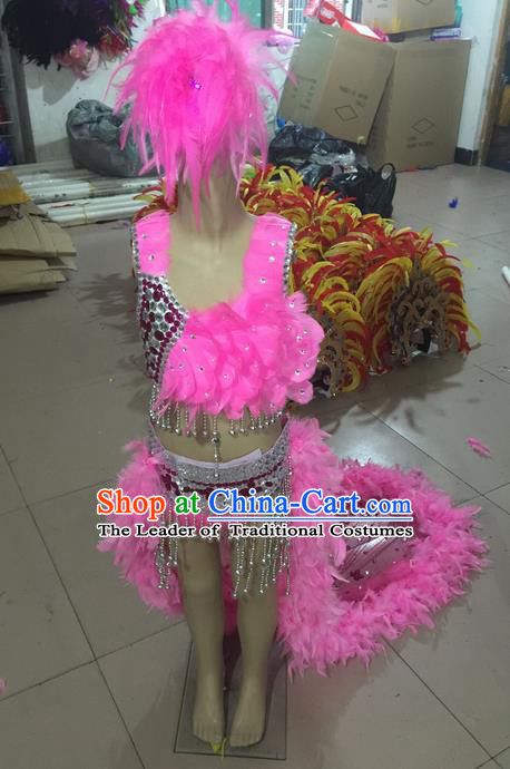 Top Grade Professional Performance Catwalks Costume Pink Feather Bikini, Traditional Brazilian Rio Carnival Samba Dance Swimsuit Clothing and Headwear for Kids