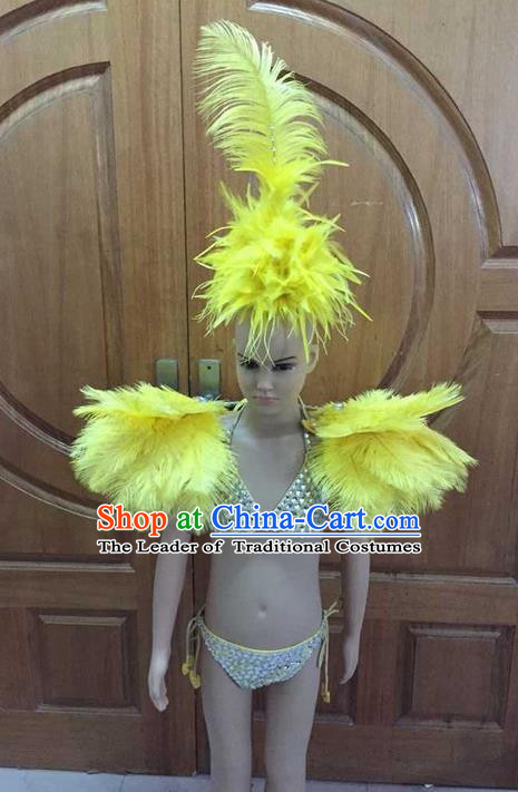 Top Grade Professional Performance Catwalks Costume Yellow Feather Bikini with Wings, Traditional Brazilian Rio Carnival Samba Dance Swimsuit Clothing and Headwear for Kids