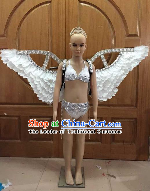Top Grade Professional Performance Catwalks Costume Bikini with Wings, Traditional Brazilian Rio Carnival Samba Dance Swimsuit Clothing for Kids