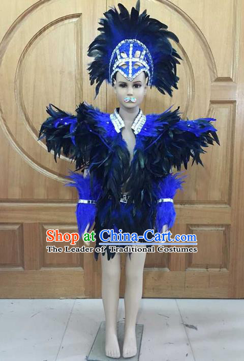 Top Grade Professional Performance Catwalks Costume Blue Feather Swimsuit, Traditional Brazilian Rio Carnival Samba Dance Modern Fancywork Clothing for Boys