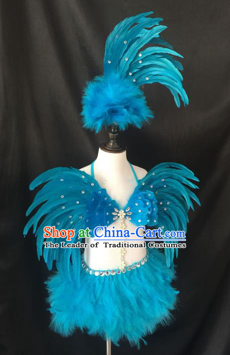 Top Grade Professional Performance Catwalks Blue Feather Swimsuit Costume, Traditional Brazilian Rio Carnival Samba Dance Modern Fancywork Clothing for Girls
