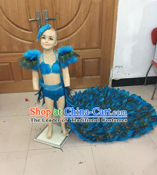 Top Grade Professional Performance Catwalks Swimsuit Costume, Traditional Brazilian Rio Carnival Samba Dance Modern Fancywork Long Streaking Bikini Clothing for Kids