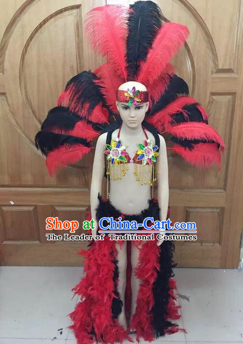 Top Grade Professional Performance Catwalks Swimsuit Feather Costume, Traditional Brazilian Rio Carnival Samba Dance Modern Fancywork Bikini Clothing and Wings for Kids