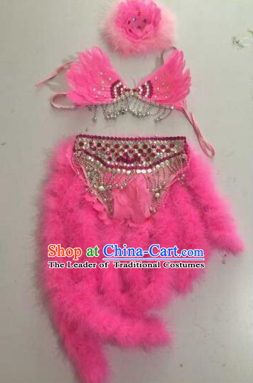 Top Grade Professional Performance Catwalks Swimsuit Pink Feather Costume, Traditional Brazilian Rio Carnival Samba Dance Modern Fancywork Bikini Clothing for Kids