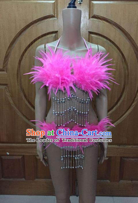 Top Grade Professional Performance Catwalks Tassel Bikini, Traditional Brazilian Rio Carnival Samba Modern Fancywork Belly Dance Pink Swimsuit Clothing for Women