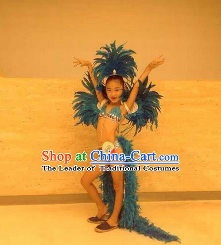 Top Grade Professional Performance Catwalks Feather Bikini and Headwear, Traditional Brazilian Rio Carnival Samba Modern Fancywork Belly Dance Swimsuit Clothing for Kids
