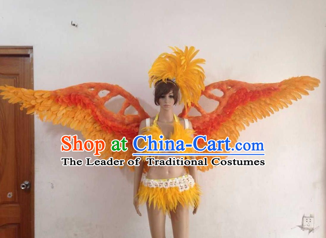Top Grade Professional Performance Catwalks Golden Swimsuit, Brazilian Rio Carnival Parade Samba Opening Dance Bikini and Feather Wings for Women