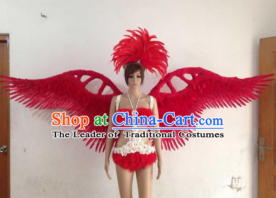 Top Grade Professional Performance Catwalks Red Swimsuit, Brazilian Rio Carnival Parade Samba Opening Dance Bikini and Feather Wings for Women