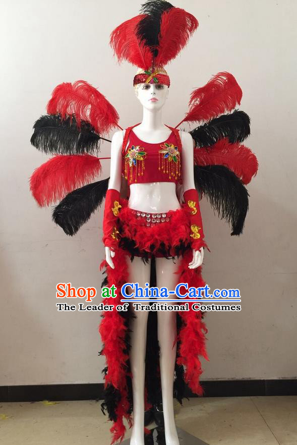 Top Grade Professional Performance Catwalks Red and Black Feather Bikini and Headwear Wings, Brazilian Rio Carnival Samba Opening Dance Swimsuit Clothing for Women