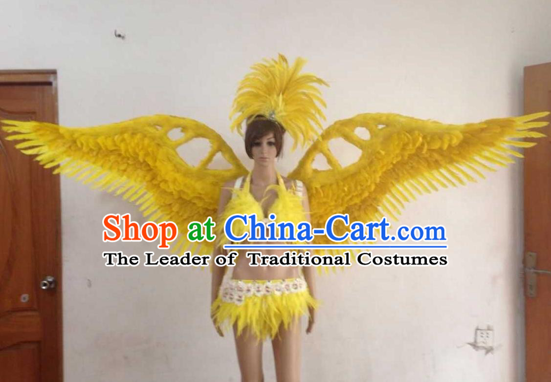 Top Grade Professional Performance Catwalks Yellow Swimsuit, Brazilian Rio Carnival Parade Samba Opening Dance Bikini and Feather Wings for Women