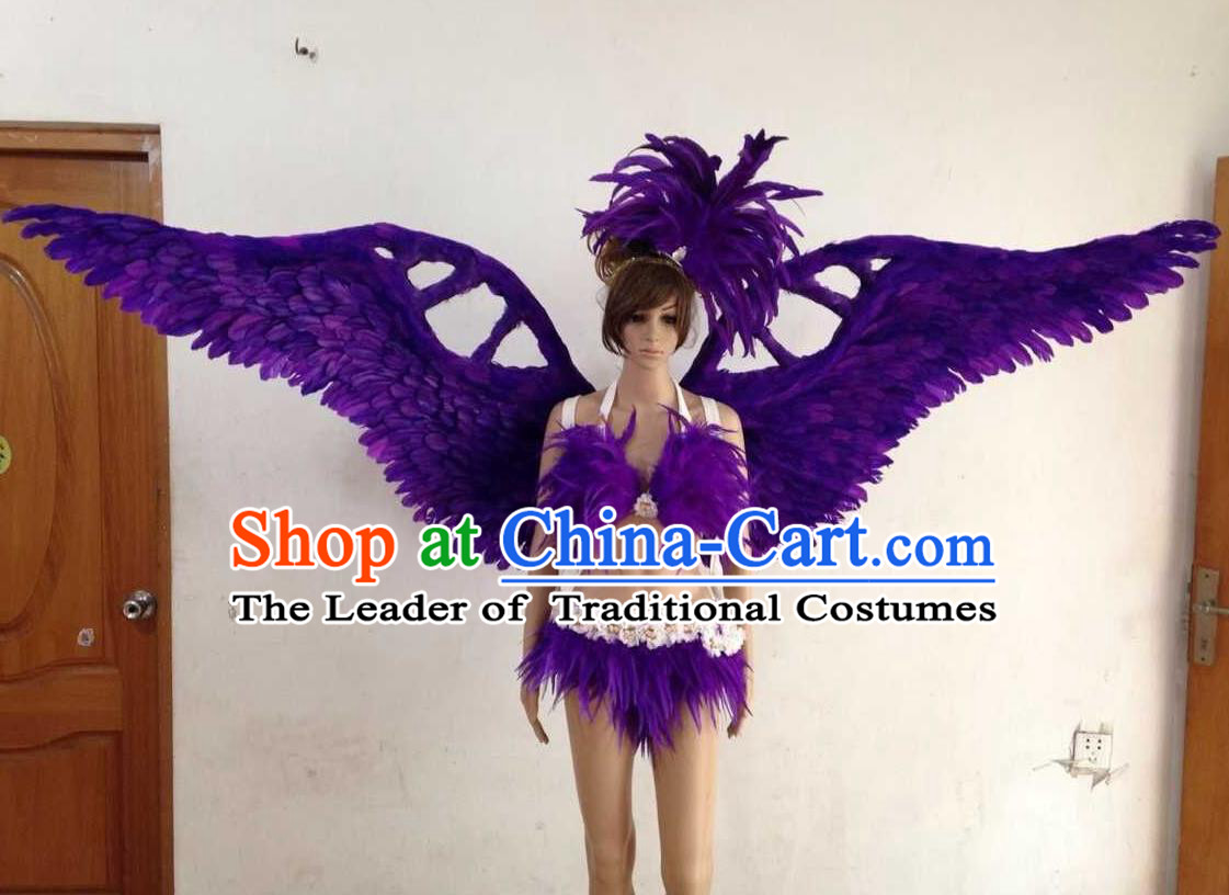 Top Grade Professional Performance Catwalks Purple Swimsuit, Brazilian Rio Carnival Parade Samba Opening Dance Bikini and Feather Wings for Women
