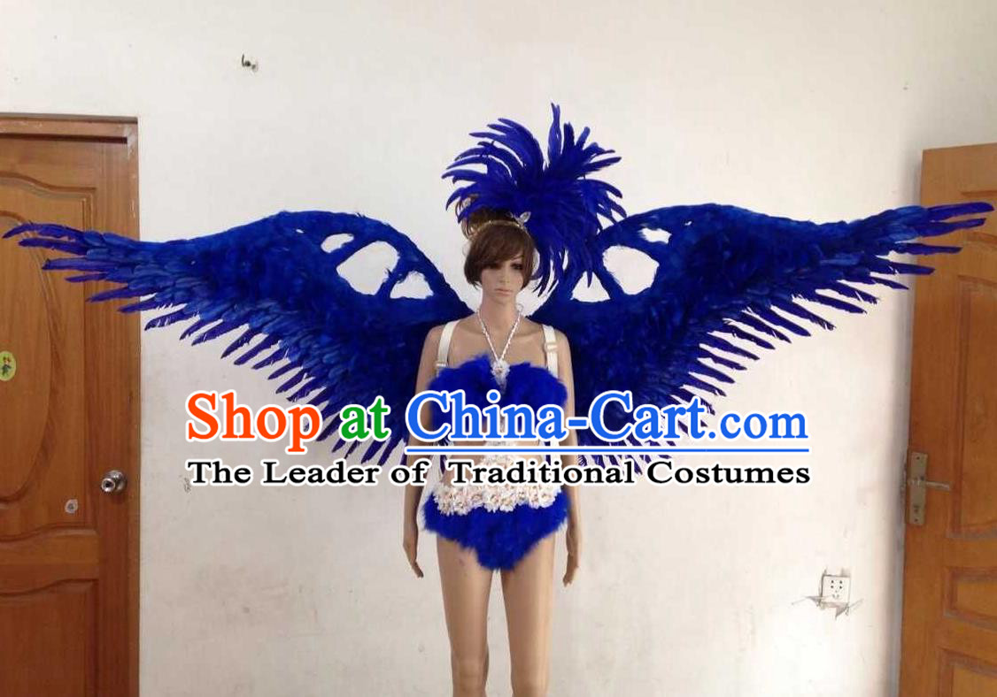 Top Grade Professional Performance Catwalks Royalblue Swimsuit, Brazilian Rio Carnival Parade Samba Opening Dance Bikini and Feather Wings for Women