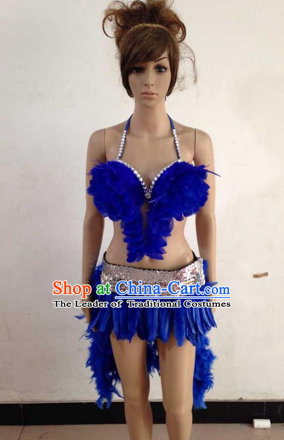 Top Grade Professional Performance Catwalks Royalblue Feather Swimsuit, Brazilian Rio Carnival Parade Samba Belly Dance Opening Dance Bikini for Women
