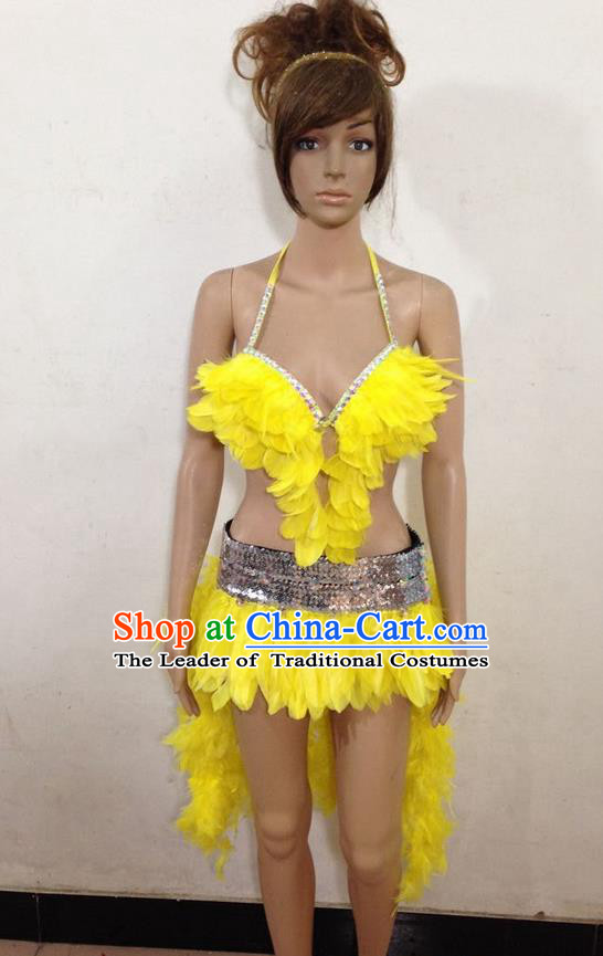 Top Grade Professional Performance Catwalks Yellow Feather Swimsuit, Brazilian Rio Carnival Parade Samba Belly Dance Opening Dance Bikini for Women