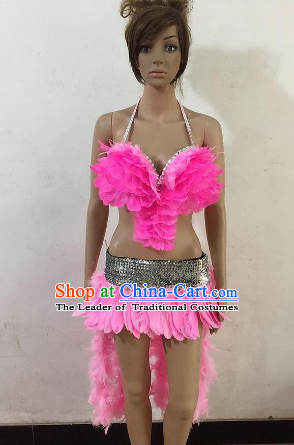 Top Grade Professional Performance Catwalks Pink Feather Swimsuit, Brazilian Rio Carnival Parade Samba Belly Dance Opening Dance Bikini for Women