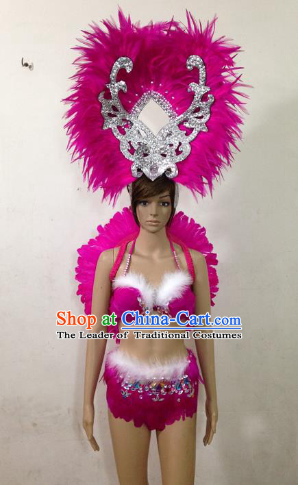 Top Grade Professional Performance Catwalks Rosy Feather Swimsuit and Headwear, Brazilian Rio Carnival Parade Samba Belly Dance Opening Dance Bikini for Women