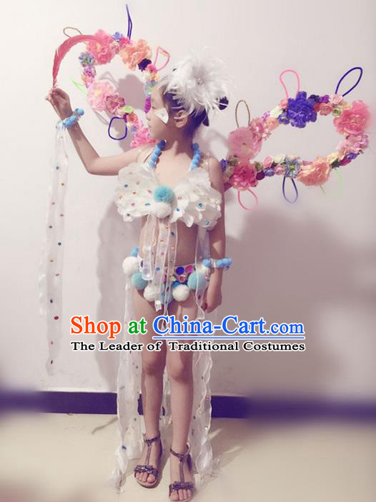 Top Grade Professional Performance Catwalks Bikini and Flowers Wings, Brazilian Rio Carnival Samba Opening Dance Swimsuit Clothing for Girls