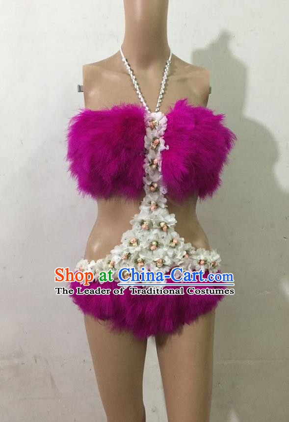 Top Grade Professional Performance Catwalks Purple Swimsuit, Brazilian Rio Carnival Parade Samba Belly Dance Opening Dance Feather Bikini for Women