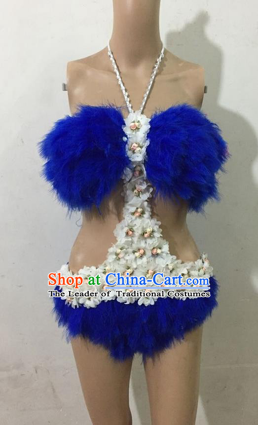 Top Grade Professional Performance Catwalks Blue Swimsuit, Brazilian Rio Carnival Parade Samba Belly Dance Opening Dance Feather Bikini for Women