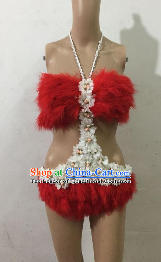 Top Grade Professional Performance Catwalks Red Swimsuit, Brazilian Rio Carnival Parade Samba Belly Dance Opening Dance Feather Bikini for Women
