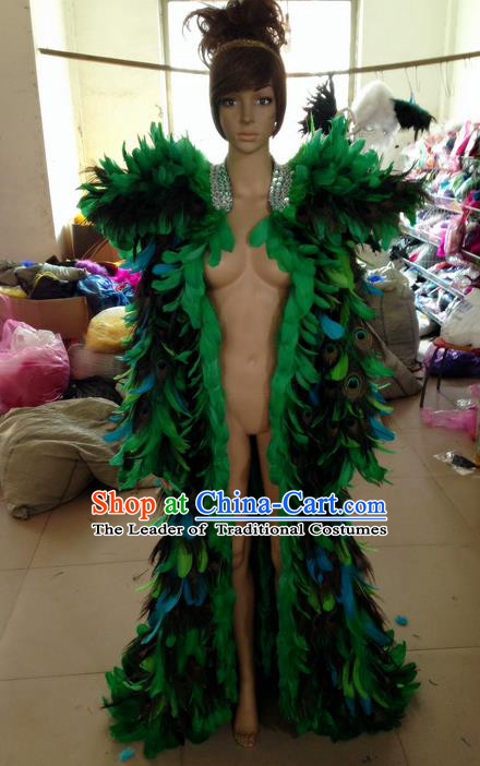 Top Grade Professional Performance Catwalks Feather Cape, Brazilian Rio Carnival Parade Samba Belly Dance Opening Dance Green Feather Cloak for Women