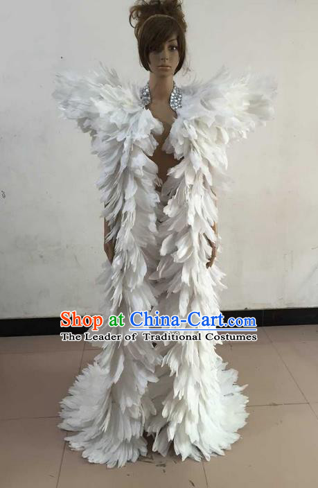 Top Grade Professional Performance Catwalks Feather Cape, Brazilian Rio Carnival Parade Samba Belly Dance Opening Dance White Feather Cloak for Women