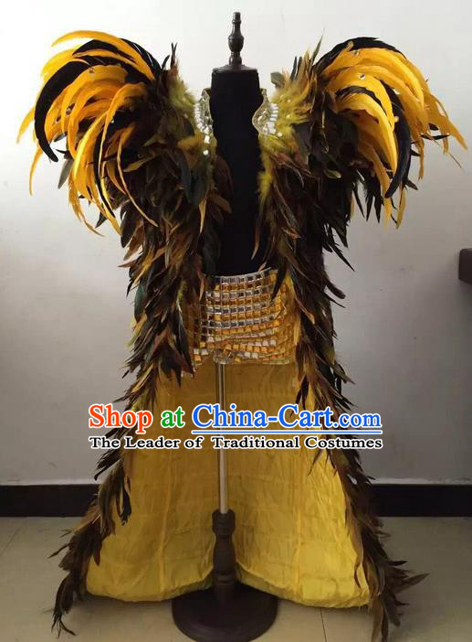 Top Grade Professional Performance Catwalks Feather Cape, Brazilian Rio Carnival Parade Samba Belly Dance Opening Dance Cloak for Kids