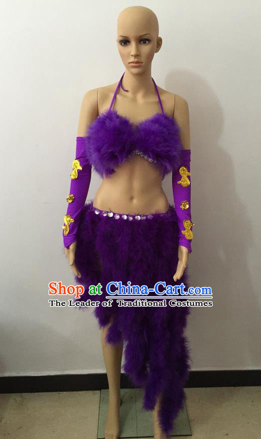 Top Grade Professional Performance Catwalks Costume Purple Swimsuit, Brazilian Rio Carnival Parade Samba Belly Dance Opening Dance Bikini for Women