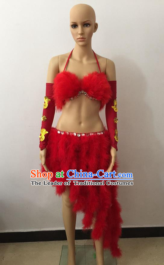 Top Grade Professional Performance Catwalks Costume Red Swimsuit, Brazilian Rio Carnival Parade Samba Belly Dance Opening Dance Bikini for Women
