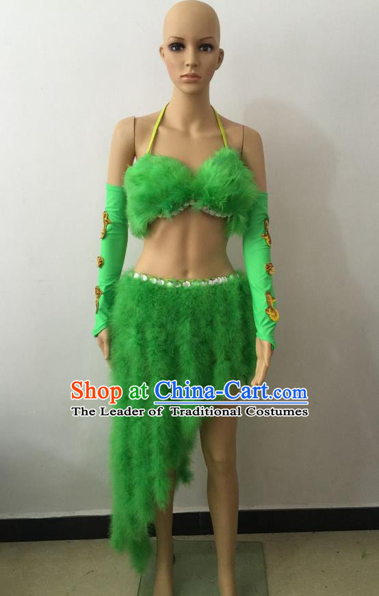 Top Grade Professional Performance Catwalks Costume Green Swimsuit, Brazilian Rio Carnival Parade Samba Belly Dance Opening Dance Bikini for Women