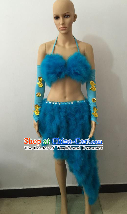 Top Grade Professional Performance Catwalks Costume Blue Swimsuit, Brazilian Rio Carnival Parade Samba Belly Dance Opening Dance Bikini for Women