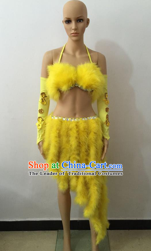 Top Grade Professional Performance Catwalks Costume Yellow Swimsuit, Brazilian Rio Carnival Parade Samba Belly Dance Opening Dance Bikini for Women