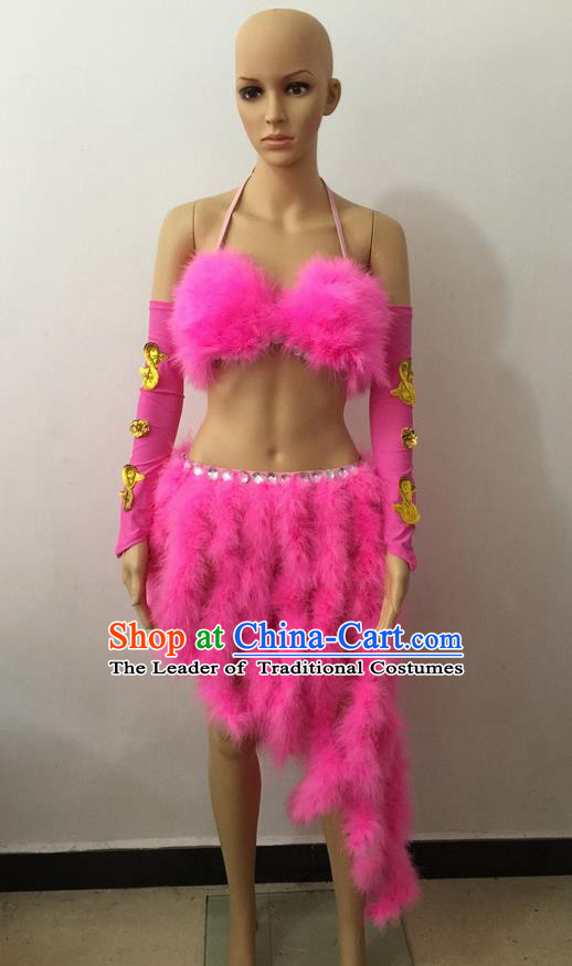 Top Grade Professional Performance Catwalks Costume Pink Swimsuit, Brazilian Rio Carnival Parade Samba Belly Dance Opening Dance Bikini for Women