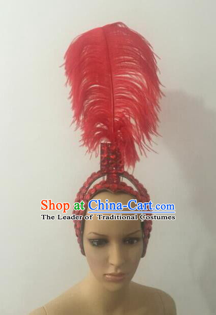 Top Grade Brazilian Rio Carnival Samba Dance Red Feathers Hair Accessories Headpiece, Halloween Parade Feather Decorations Headwear for Women
