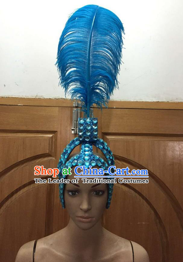 Top Grade Brazilian Rio Carnival Samba Dance Blue Feathers Hair Accessories Headpiece, Halloween Parade Feather Decorations Headwear for Women