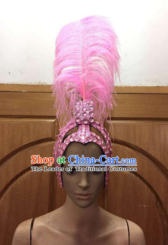 Top Grade Brazilian Rio Carnival Samba Dance Pink Feathers Hair Accessories Headpiece, Halloween Parade Feather Decorations Headwear for Women